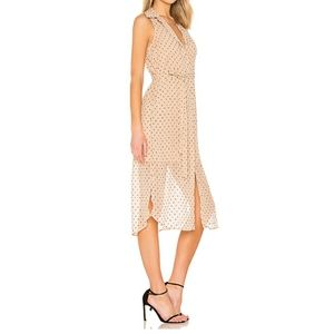 L'ACADEMIE BUTTON DOWN ROSE DRESS IN NUDE DOT